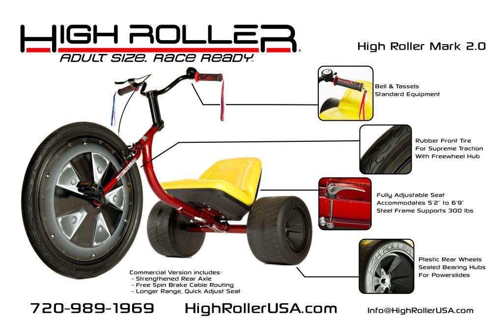 High Roller Mark 2.0 Adult Size Big Wheel Trike